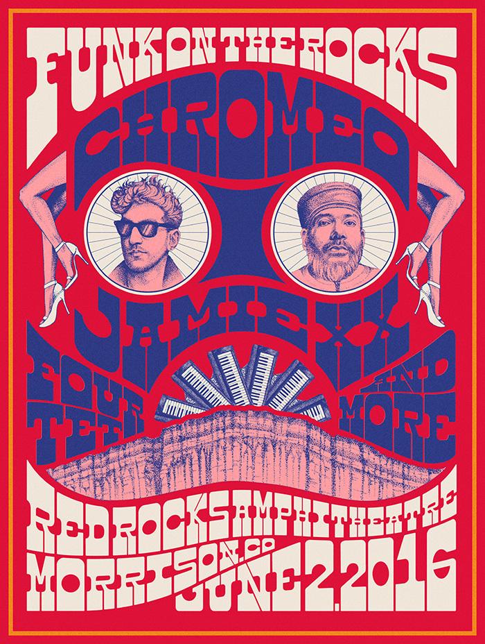 Artwork for Chromeo live show at the Red Rocks festival